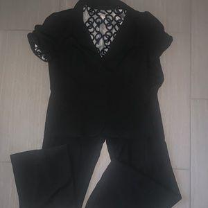 Maurice's black cropped blazer dress pants suit L